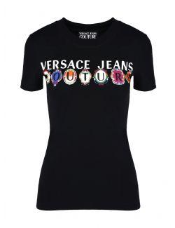 Versace Jeans Couture - Crna majica sa logom - B2HWA7PA-899 B2HWA7PA-899