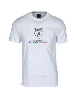 Lamborghini - Bela pamučna majica sa logo printom - B3XWB7TR-005 B3XWB7TR-005