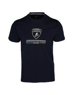 Lamborghini - Teget pamučna majica sa logo printom - B3XWB7TR-240 B3XWB7TR-240