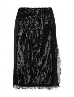 Ermanno Scervino - Crna suknja sa čipkom i šljokicama - D38ETGN10PAI-MF099 D38ETGN10PAI-MF099