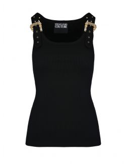 Versace Jeans Couture - Rebrasta crna majica - D3HWA651-899 D3HWA651-899