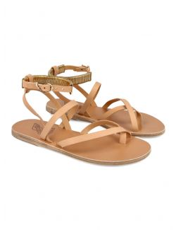 Ancient Greek Sandals - Ravne sandale sa zlatnim detaljem - OHIA-002 OHIA-002