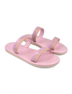 Ancient Greek Sandals - Ravne kožne sandale sa dva kaiša - PARALIA-008 PARALIA-008