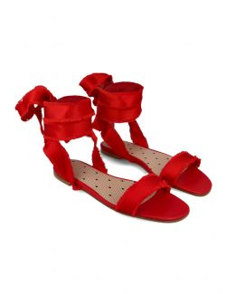 Red Valentino - Ravne sandale od satena - VQ0S0D58FRB-C61 VQ0S0D58FRB-C61