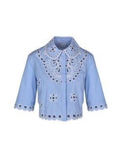Red Valentino - Kratka plava bluza sa vezom - VR0AA02S5T4-AA1 VR0AA02S5T4-AA1