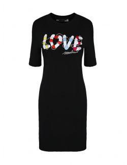 Love Moschino - Crna pamučna haljina sa rukavima do laktova - W 5 B49 03 E 1951-C74 W 5 B49 03 E 1951-C74