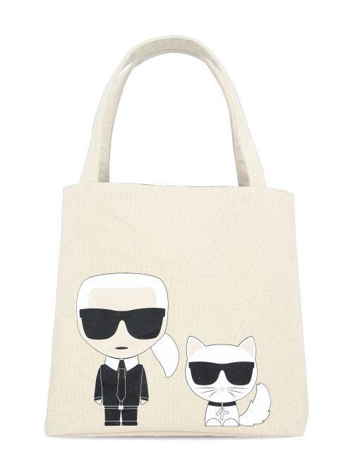 Karl Lagerfeld - K/Ikonik Karl & Choupette platnena torba - 205W3095-106 205W3095-106