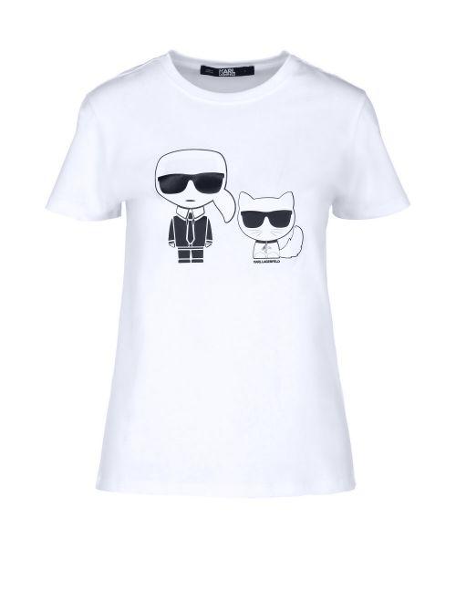 Karl Lagerfeld - Ikonik Karl & Choupette pamučna majica - 210W1724-100 210W1724-100