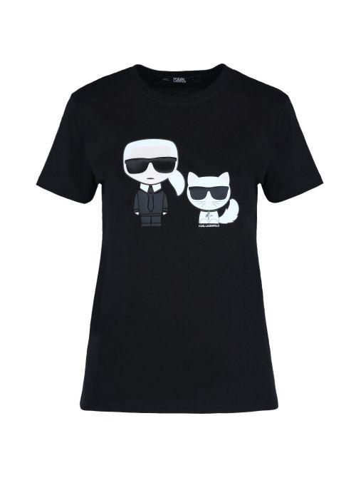 Karl Lagerfeld - Ikonik Karl & Choupette pamučna majica - 210W1724-999 210W1724-999