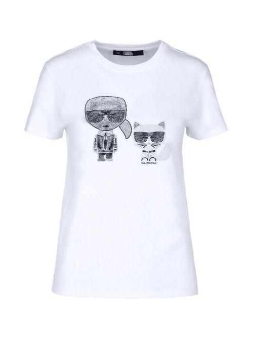 Karl Lagerfeld - Ikonik pamučna majica sa kristalima - 210W1725-100 210W1725-100
