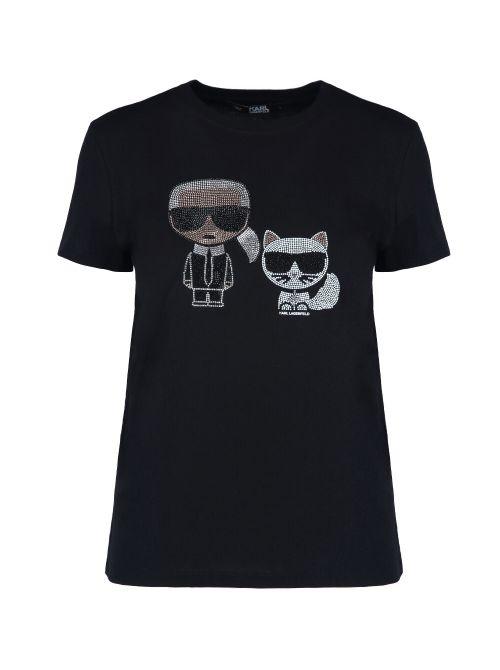 Karl Lagerfeld - Ikonik pamučna majica sa kristalima - 210W1725-999 210W1725-999
