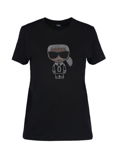 Karl Lagerfeld - Ikonik Karl pamučna majica sa kristalima - 210W1726-999 210W1726-999