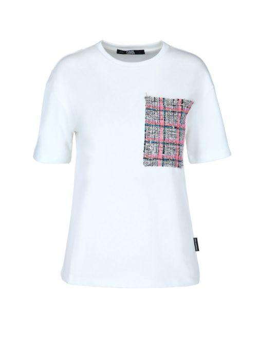 Karl Lagerfeld - Pamučna majica sa džepom od buklea - 211W1703-100 211W1703-100