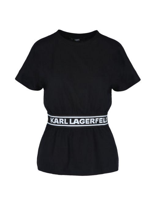 Karl Lagerfeld - Pamučna majica sa logo-trakom - 211W1705-999 211W1705-999
