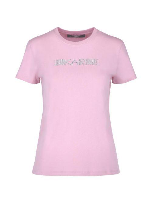 Karl Lagerfeld - Pamučna majica sa logom od kristala - 211W1706-510 211W1706-510