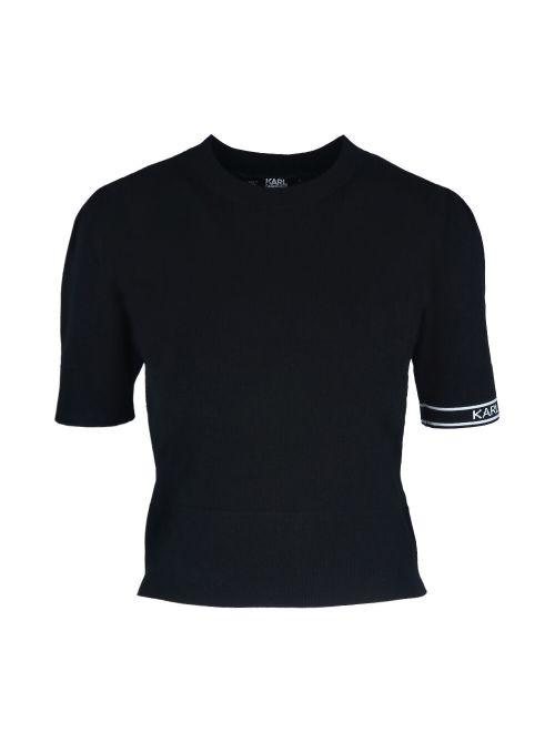 Karl Lagerfeld - Tanki džemper sa kratkim rukavima - 211W2003-999 211W2003-999