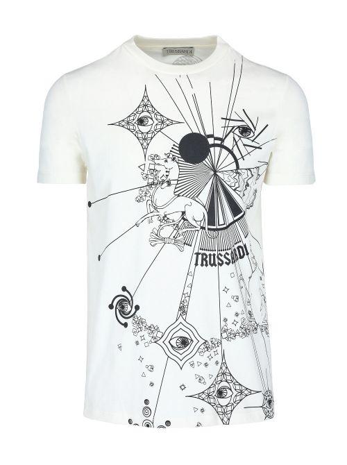 Trussardi - Pamučna majica sa printom - 52T00448-1T005053-W004 52T00448-1T005053-W004