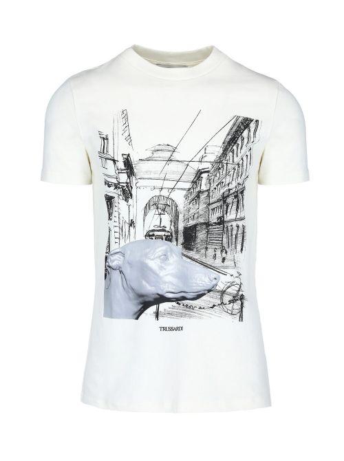 Trussardi - Pamučna majica sa printom - 52T00459-1T005053-W004 52T00459-1T005053-W004