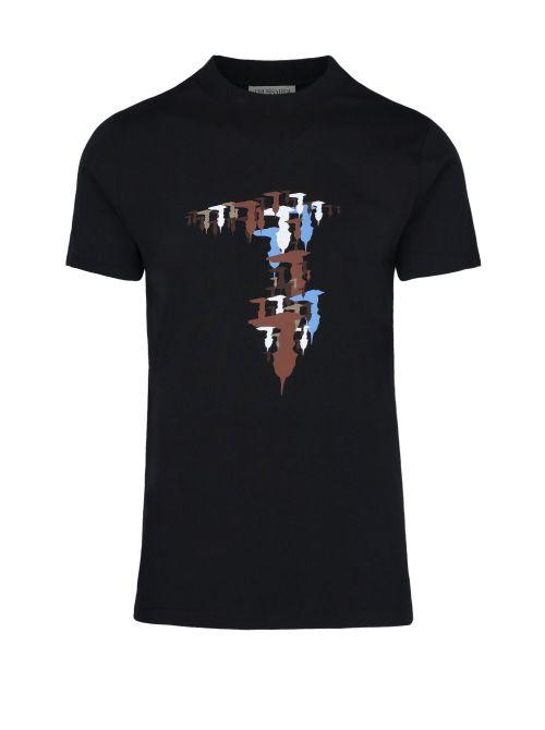 Trussardi - Pamučna majica sa printom - 52T00525-1T005345-K299 52T00525-1T005345-K299