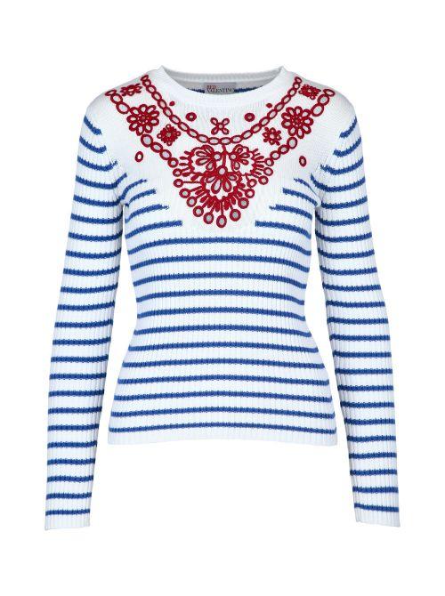 Red Valentino - Prugasti džemper sa vezom - VR0KC08F5U4-AA1 VR0KC08F5U4-AA1
