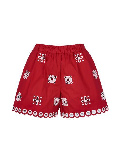 Red Valentino - Pamučni šorts sa vezom - VR0RF00P5TC-B91 VR0RF00P5TC-B91